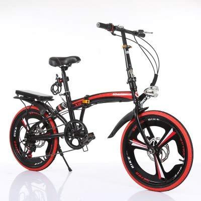 Mdsfe Bicicleta Plegable Cambio de Velocidad de 20 Pulgadas Disco de Freno Rejilla Tres Cuchillas Bicicleta portátil para Adultos pequeña para Hombres y Mujeres Ultraligeros - Negro