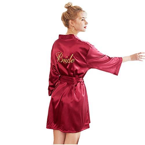 Fansu Damen Kimono Morgenmantel Bademante, Bademantel Aus Satin-Seide Schräg Mit V-Ausschnitt Kurze Brautjungfern Braut Hochzeit Aprty (M,Rotwein)