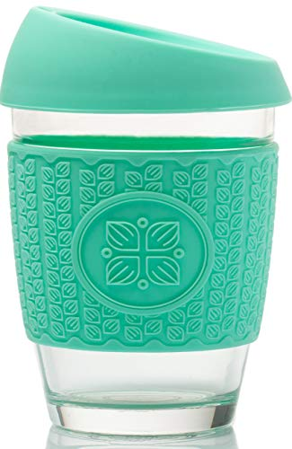 Funk My World Reusable Coffee Cups – Eco-Friendly Travel Mug Borosilicate Glass - 12oz Barrister Friendly – Thickened 3D Thermal Sleeve - Leek Proof Lid (TURQUOISE)
