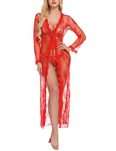 Sykooria Babydoll Lingerie Sexy Donna Kimono Lungo Trasparente Pizzo+G-String