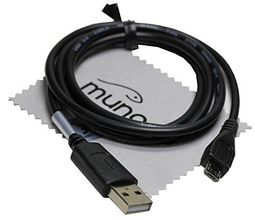 USB Sync-Kabel, Ladekabel, Datenkabel 1m schwarz für TOLINO Vision 4 HD, Page, Vision 3 HD, Shine 2 HD, Vision 2, Vision und Epos E-Book-Reader mit mungoo Displayputztuch