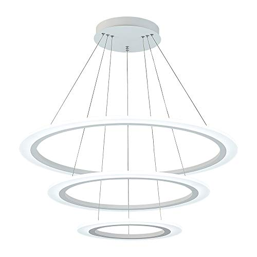 Royal Pearl Modern 3-Ring LED Chandelier Dimmable Contemporary Ceiling Light LED Pendant Light for Dinning Room, Living Room, Cool White 6000K, Silver