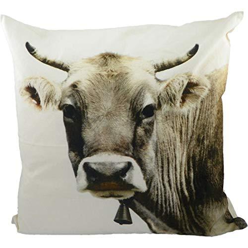 Mars & More - Kissen - Kuh, Schweizer Kuh - 50 x 50 cm - 100 % Baumwolle - mit Füllung