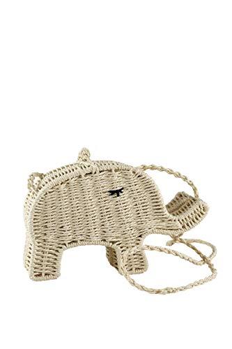 collezione alessandro Handgemachte Tasche Elefant aus Bast mit süßen Details 23cm x 14cm x 7cm