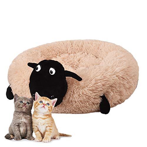 HIMA PETTR Deluxe Huisdier Nest, Afneembare Wasbare Slaap Kat Slaapbank Geschikt voor Kleine Katten, Leer Roze