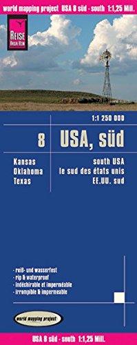 Reise Know-How Landkarte USA 08, Süd (1:1.250.000) : Kansas, Oklahoma, Texas: world mapping project