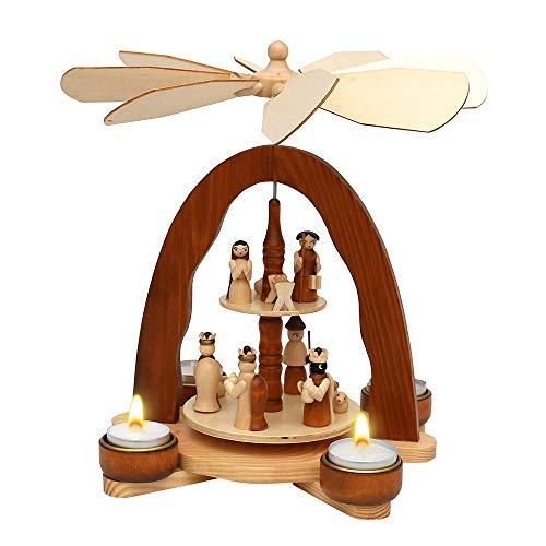 Dekohelden24 Holz Teelichtpyramide mit Heilige Familie, Natur/braun, L/B/H 20,5 x 18,5 x 26 cm