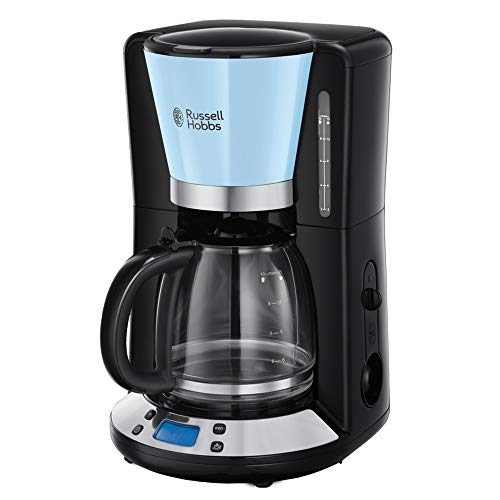 Russell Hobbs 24034-56 Machine à Café, Cafetière Filtre 1,25L Programmable 24h Colours Plus, Affichage Digital, Maintien au Chaud - Bleu
