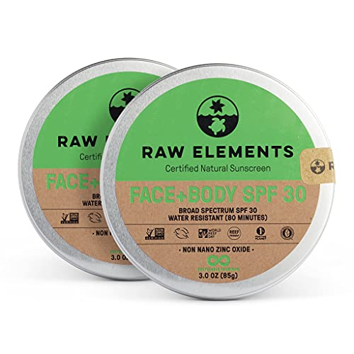 Raw Elements Face and Body Certified Natural Sunscreen | Non-Nano Zinc Oxide, 95% Organic, Water Resistant, Reef Safe, Cruelty Free, SPF 30+, All Ages Safe, Moisturizing, Reusable Tin, 3oz (2-Pack)