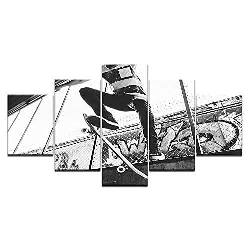 COCOCI Lienzo 5 Piezas Skateboarding en Blanco y Negro Lienzos Decorativos Cuadros Grandes Baratos Cuadros Decoracion Cuadros para Dormitorios Modernos Cuadros Decoracion Regalos Personalizados