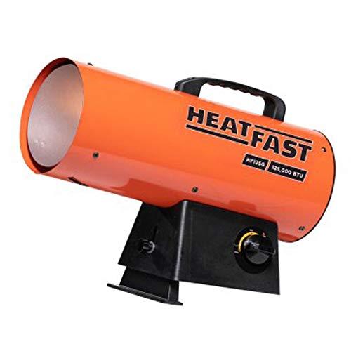 HeatFast HF160G Portable Home, Jobsite, Construction Site Forced Air Liquid Propane Salamander Torpedo Space Heater with Variable Temperature Control, 155,000 BTU, orange