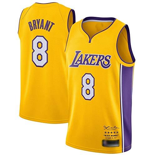 WOLFIRE WF Maglia da Basket per Uomo, NBA, Los Angeles Lakers # 11 Kobe Bryant. T-Shirt per Ricamo, Traspirante e Resistente all'Usura Canotta Jersey (Giallo 8 Mamba Sign, M)
