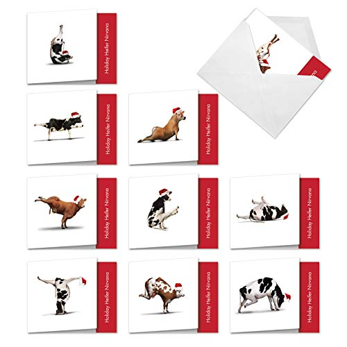 The Best Card Company - 10 Blank Animal Christmas Note Cards - Assorted Bulk Holiday Cards for Kids, Fun Wildlife (4 x 5.12 Inch) - Christmas Cow Yoga MQ6545XSB-B1x10