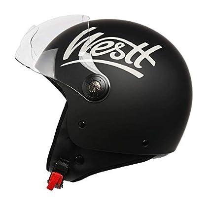 Westt Classic - Casco de Moto Jet Abierto - Ligero y Duradero - Negro Mate - Certificado ECE