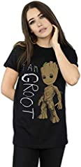 Marvel mujer Guardians Of The Galaxy I Am Groot Scribbles Camiseta Del Novio Fit