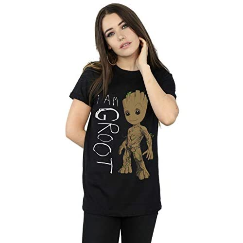 Marvel Donna Guardians of The Galaxy I Am Groot Scribbles Boyfriend T-Shirt Fit XX-Large Nero