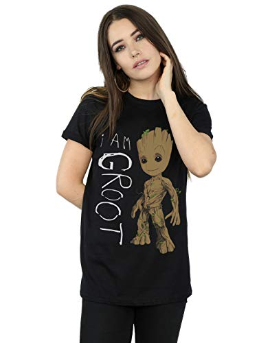 Marvel Damen Guardians of The Galaxy I Am Groot Scribbles Boyfriend Fit T-Shirt Medium Schwarz