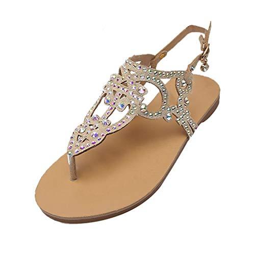 TUDUZ Damen Flach Sommer Sandalen, Frauen Strand Gemütlich Flip Flops Bohemian Schuhe mit Strass, Knöchelriemchen Freizeit Urlaub Sommerschuhe Riemchensandalen(Khaki,41 EU)