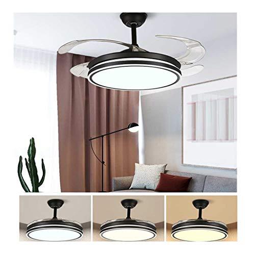 42 inch plafondventilator met verlichting en afstandsbediening, 36 W LED-plafondlamp, inklapbare vleugels, moderne inklapbare bladen, opvouwbare ventilator, plafondlamp, zwart