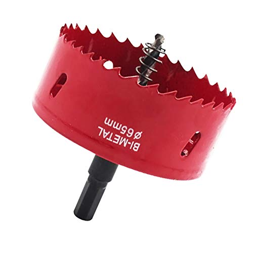Maotrade Hole Saw 65mm M42 Bi-Metal Hole Cutter with Hexagon Adapter and Centring Drill Bit Holesaw for Wood,Iron Sheet,Pipe,Plastic,Metal,Gypsum Board,Aluminum Alloy