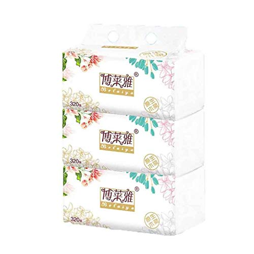 3PCS Taschentücher Sanft und Frei Papier Handtücher Sanft Toilette Papier Weiß Papier Handtücher Haushalt Dreischichtig Papier (Weiß)