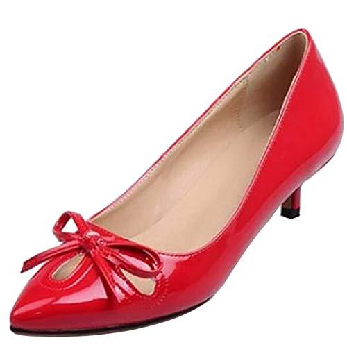 Kaizi Karzi Damen Süss Kitten Heel Pumps Pointed Toe Frühlings Schuhe Mid Heel Pumps Party Schuhe Ausgeschnitten Red Gr 40 Asiatisch