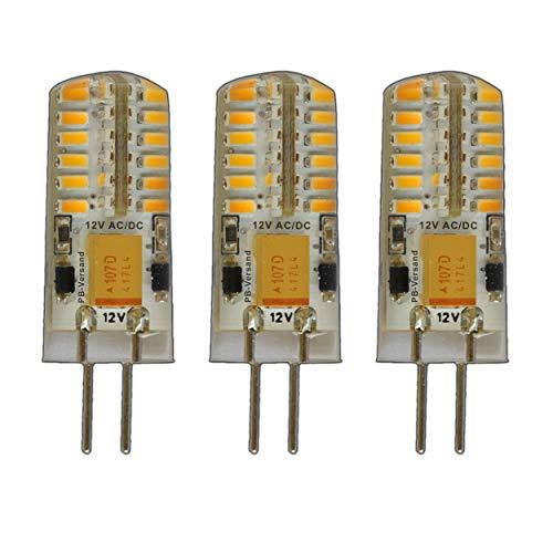 3x G4 LED 3 Watt Warmweiß Dimmbar 12V AC/DC Wechselspannung mit 48x 3014 SMDs (Epistar) ~ 15W 330° Stiftsockel Leuchtmittel Lampensockel Halogenersatz Lampe PB-Versand®
