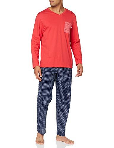 Eminence - Pyjama Long col V Homme Fait en France - Taille : 3XL - Couleur : Rouge-Marine