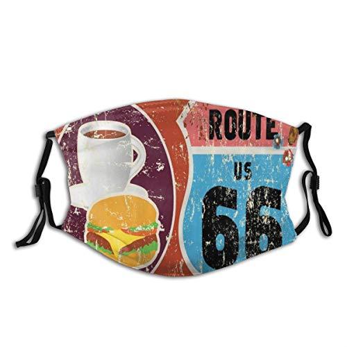 BROWCIN Route 66 American Diner Altmodisches Schild Hauptstraße von Amerika Reise Berühmtes Abenteuer Staubwaschbarer wiederverwendbarer Filter und wiederverwendbarer