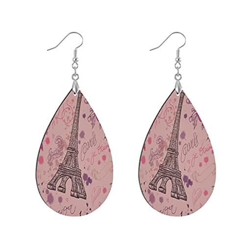 1 paio di orecchini a goccia a forma di asciugamano Eiffel rosa rosa in legno dipinto orecchino goccia orecchini per le donne, Leaf drop, Legno Rame Argento,