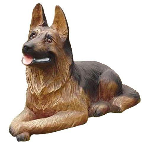 XL Premium Schäferhund liegt in lebensgross 90cm Hund Garten Deko Figur