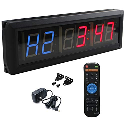 Ledgital Interval Timer Large Crossfit Clock for Home Gym 14x4in. Stopwatch Countdown/UP Timer for Gym w/Remote Control