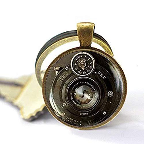 Llavero vintage para cámara, llavero de lente de cámara, llavero de cristal hecho a mano, llavero para fotógrafo, regalo de fotografía