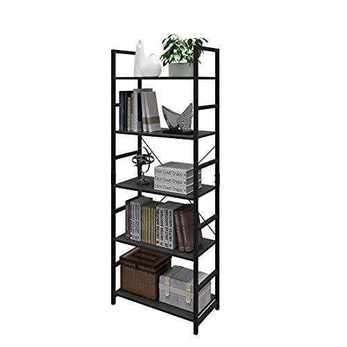 DAWNYIELD Estantería de 5 niveles industrial de madera, estante de metal, estante de almacenamiento, moderno estante de libros para dormitorio, sala de estar, hogar, oficina, color negro