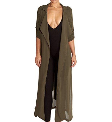 Dreamsoar Womens Long Sleeve Fashion Chiffon Lightweight Maxi Sheer Duster Cardigans GREN Green
