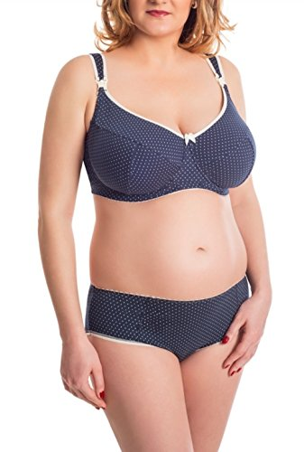 BaiBa Soutien-gorge classique de grossesse / d'allaitement avec armatures en coton (110 F, Bleu foncé)