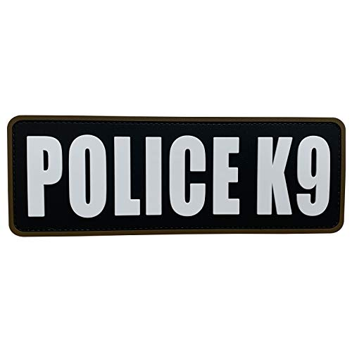 uuKen Police K9 Patch Black and White 8.5x3 inch PVC Patch for Tactical Vest Plate Carrier Military Police Bag Backpack (Black and White, L8.5'x3')
