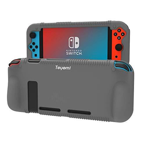 Teyomi Hülle für Nintendo Switch, Schutzhülle aus Silikon mit Federung und Anti-kratzt Spiel Kassette Slot Design(Grau)