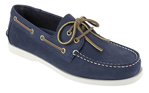 RUGGED SHARK Men's Classic Boat Shoes, Genuine Leather with Odor Control Technology, Navy Blue, Men's Size 10
