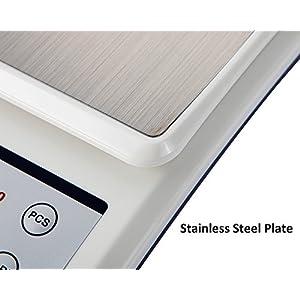 Yizish Balance de Cuisine Numérique (Câble USB + Alimentation des Piles), Échelle de Viande Multifonction à l'eau, Plateforme en Acier Inoxydable avec écran LCD pour Cuisson au Four