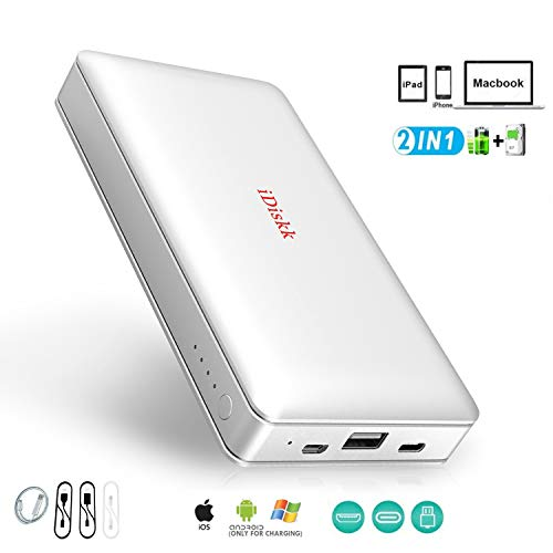 1000GB (1TB) Disco Duro Externo para iPhone11/ 5/6/7/8 / X, XR/XS MAX, iPad Pro y MacBook y PC, iDiskk Memoria USB 3.0 Disco Duro iPhone Fotos Apoyo
