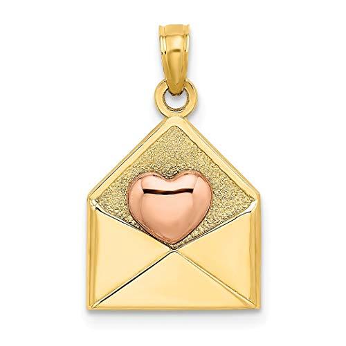 12mm 14ct Twee toon Goud 3 d Xoxo Envelop Met Roze Liefde Hart Hanger Ketting Hoog Pools Sieraden Geschenken voor Vrouwen