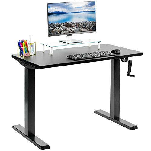 """VIVO Manual Height Adjustable 43"""" x 24"""" Stand Up Desk, Black Solid One-Piece Table Top, Black..."""