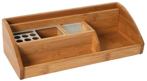 Schreibtischständer L Bambus/Alu, universelles Ablagesystem aus Holz mit Stifteköcher, Notizhalter und Ablagefächer für beispielsweise Briefe oder Visitenkarten, von Bartl Office-Line-Bambus