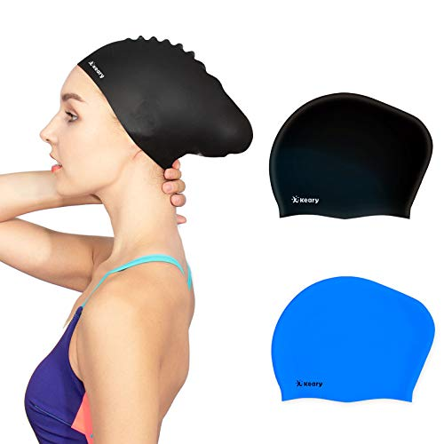 Keary 2 Pack Updated Silicone Swim Cap for Long Hair Women Girl Waterproof Bathing Pool Swimming Cap Cover Ears to Keep Your Hair Dry, 3D Soft...