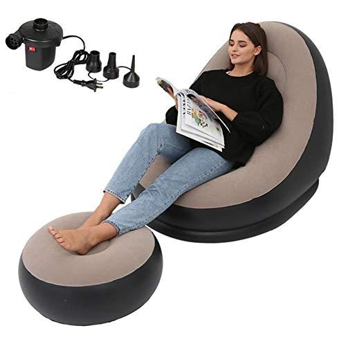 Archuk Materasso gonfiabile ad aria, sedia a sdraio, sdraio Deluxe con comodo poggiapiedi, pouf singolo per esterni, 116 x 98 x 83 cm