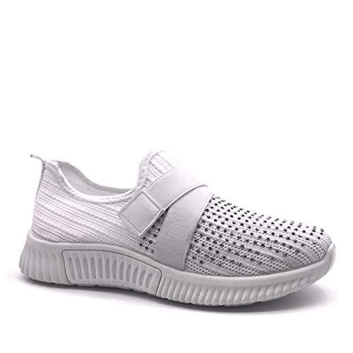 Angkorly - Damen Schuhe Sneaker - Low - Flexible - Streetwear - Strick - Strass - Schmuck/Juwelen Flache Ferse 3.5 cm - Weiß G326 T 40