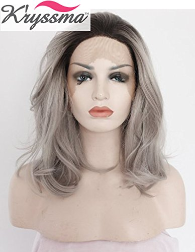 K'ryssma Grey Ombre Short Bob Wigs for Black Women Natural Wavy Dark Roots Synthetic Lace Front Wig Half Hand Tied Heat Friendly