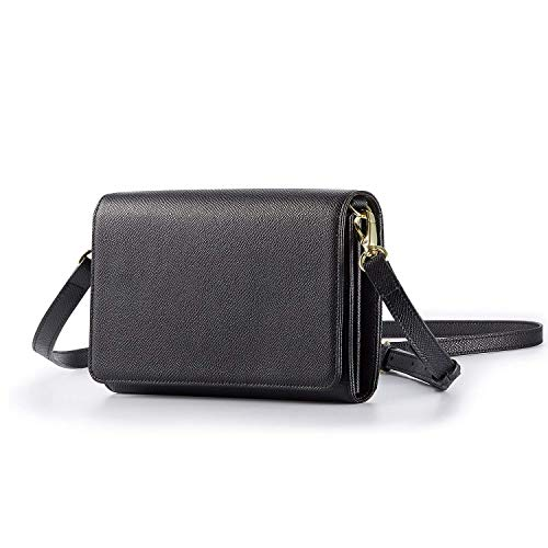 Lecxci Women Leather Clutch Small Crossbody Shoulder Bag RFID Blocking Wallets Anti-Theft Purse with 16 Card Slots(Black)