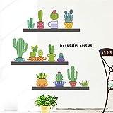 Plantas de cactus Pegatinas de la pared de la olla para la tienda...